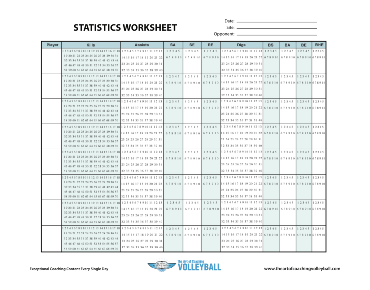 statistics worksheet the art of coaching volleyball. Black Bedroom Furniture Sets. Home Design Ideas