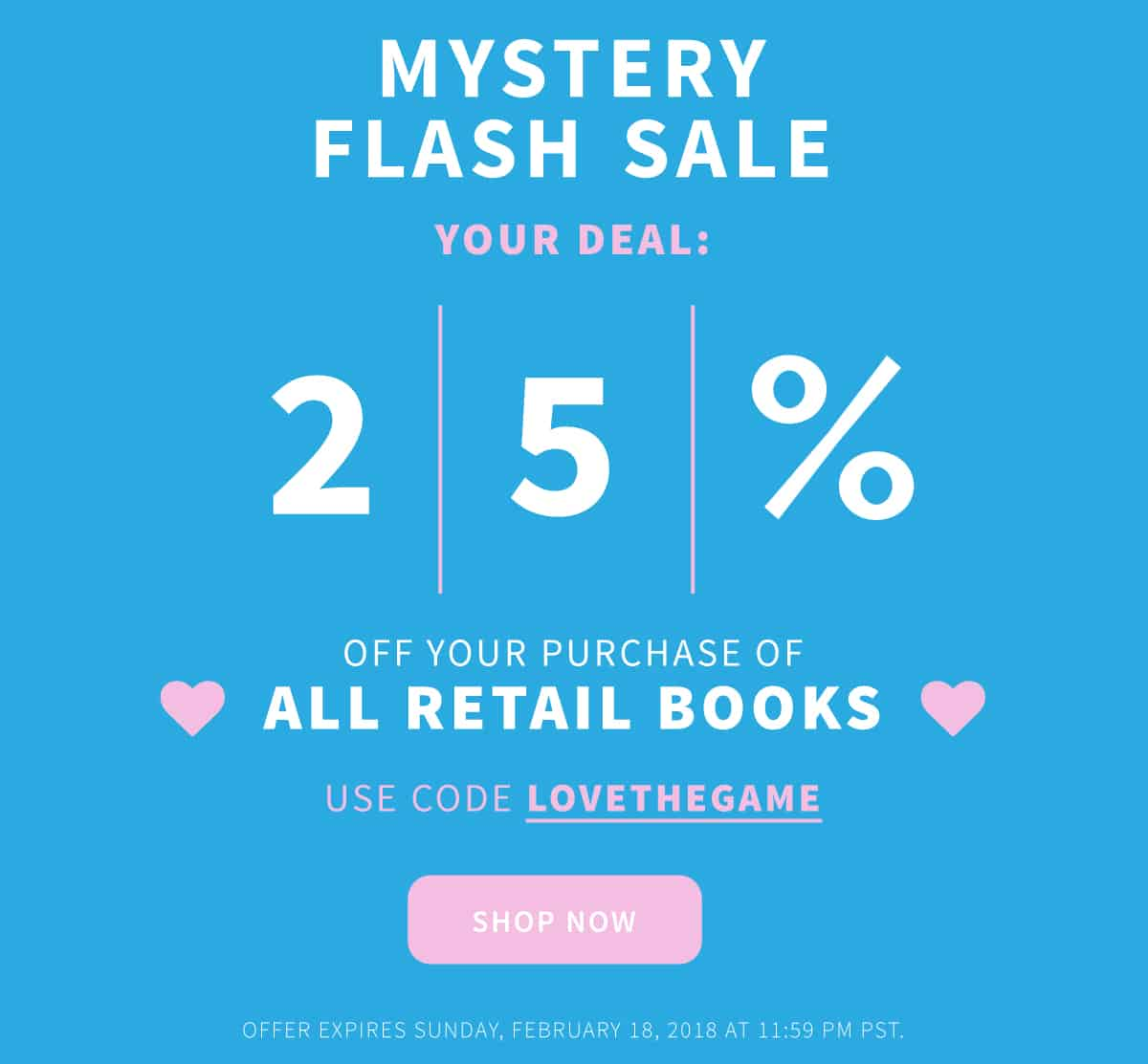 Mystery Sale - 25 percent off books! Click to browse
