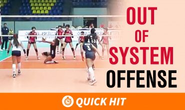 Out of system offense graphic is written across the picture. a setter is hustling to a ball close to the net and hitters are still getting ready to hit