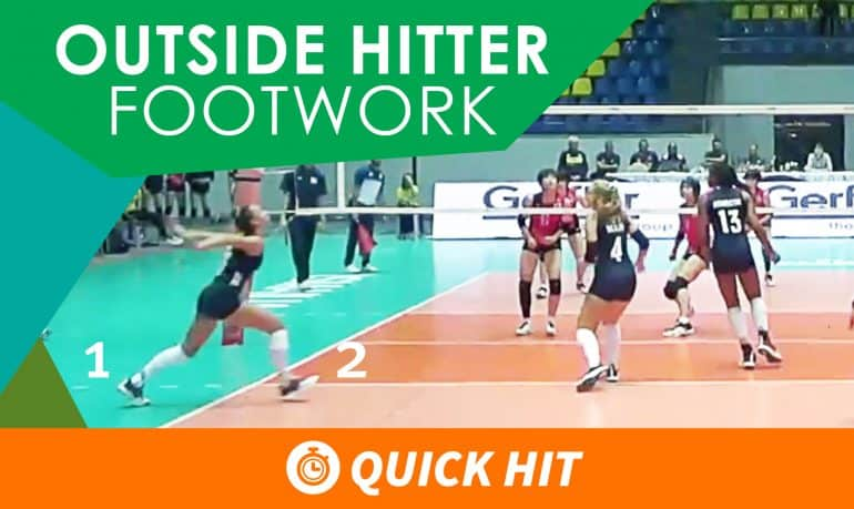 """Outside hitter footwork"" is displayed across the top of the image. An outside hitter practices good footwork as she takes an approach to a ball that is out of frame while her teammates get ready to cover."