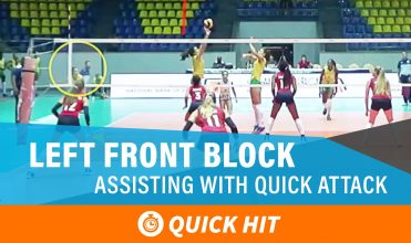 Left front block assisting with a quick attack from the opposing middle by stepping into the court and blocking with the middle on her team.